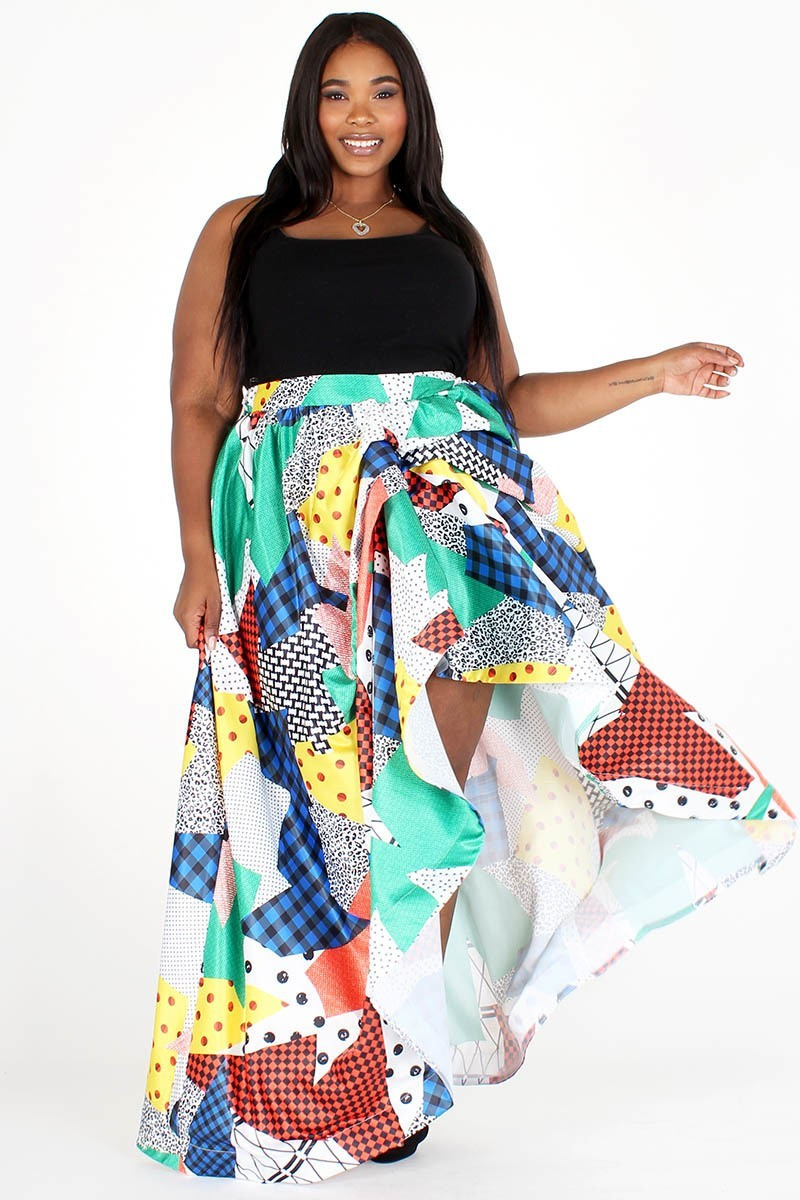Plus Size Multi Color Gathered Ruffle Maxi Skirt