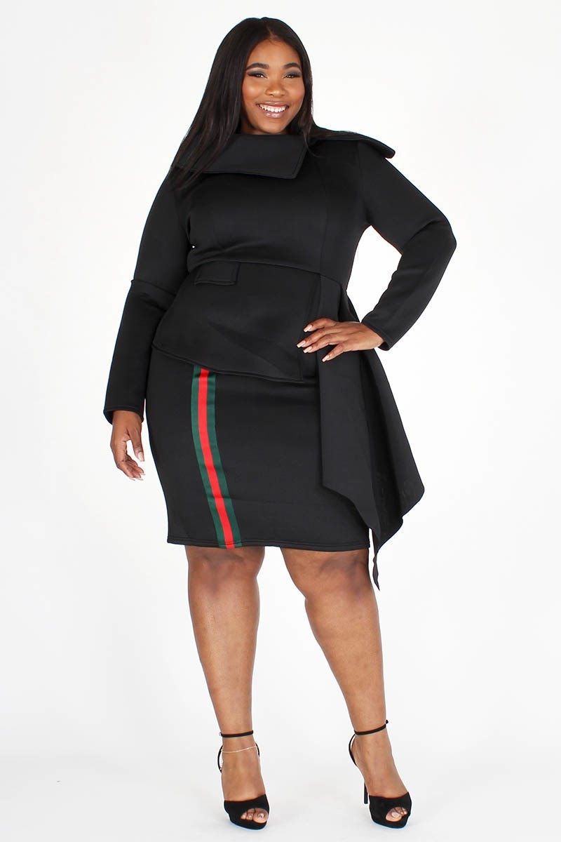 Plus Size Designer Stripe Draped Collard Peplum Dress