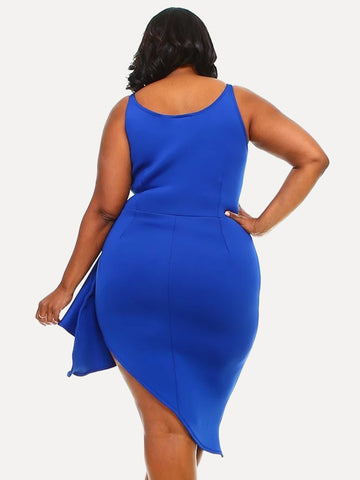 Plus Size Asymmetrical Glam Ruffle Front Dress