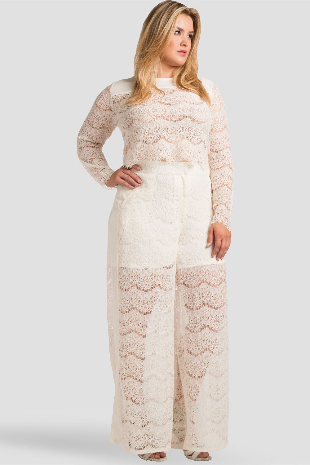 Plus Size April Ivory Spring Peek-A-Boo Lace Palazzo Pants