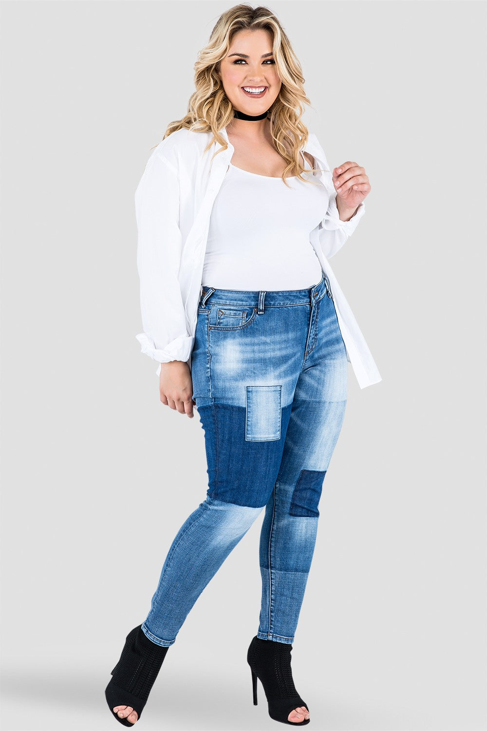 Plus Size Isabel Patchwork Indigo Stretch Jeans