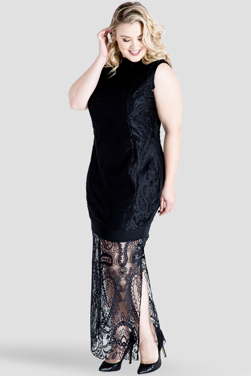 Plus Size Clover Sleeveless Black Lace Maxi Dress W Mock Turtle Neck