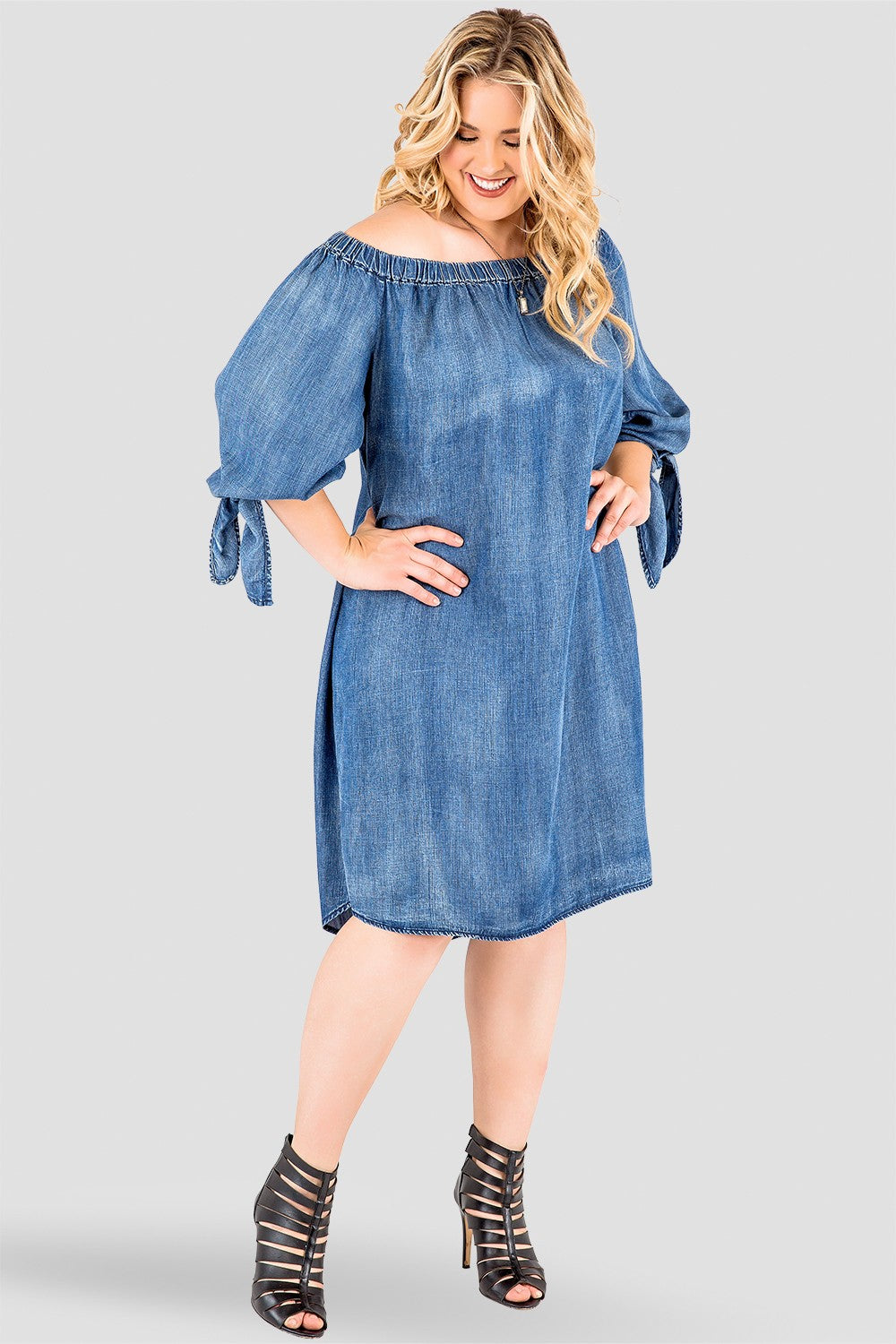 Plus Size Julie Denim Tencel Off-The-Shoulder Peasant Dress