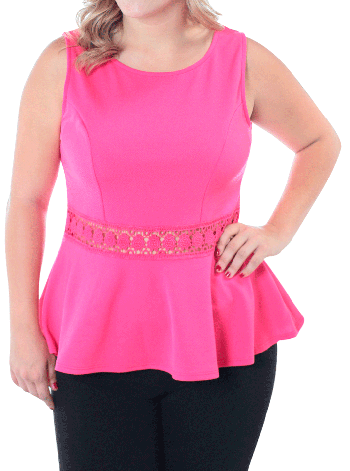 Plus Size Darling Crochet Peplum Pink Top