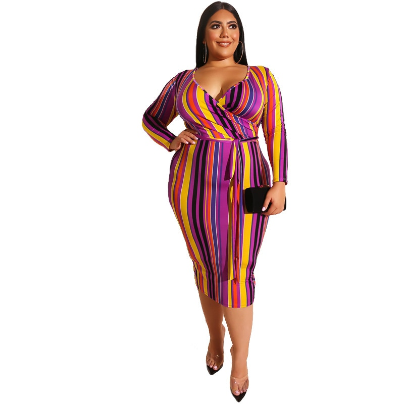 Plus Size Colorful Stripe V Neck Cross Over Dress