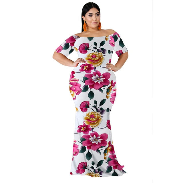 Plus Size Floral Print Off Shoulder Backless Maxi White Dress