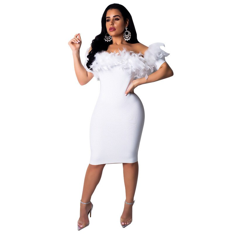 Plus Size Off Shoulder Glam Feather Bodycon Dress