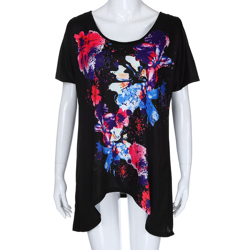 Plus Size Butterfly Floral Print Cold Shoulder Short Sleeve Top