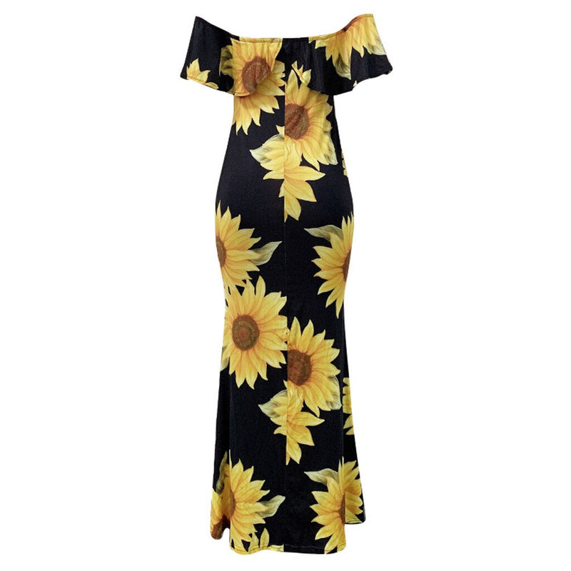 Plus Size Bohemian Sunflower Print Ruffle Long Maxi Dress