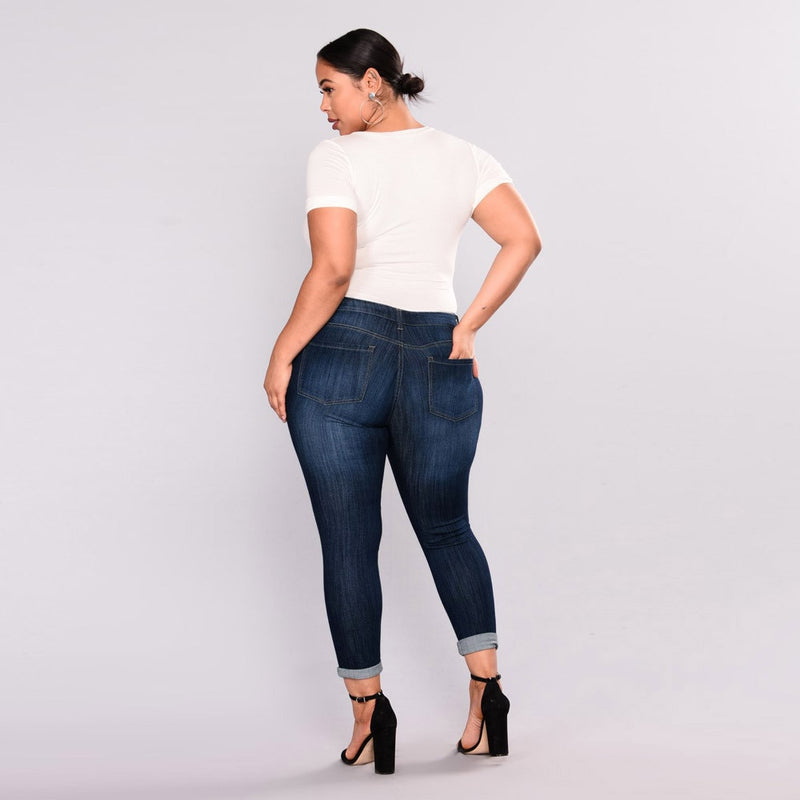 Plus Size Ripped Stretch Slim Denim Skinny Jeans