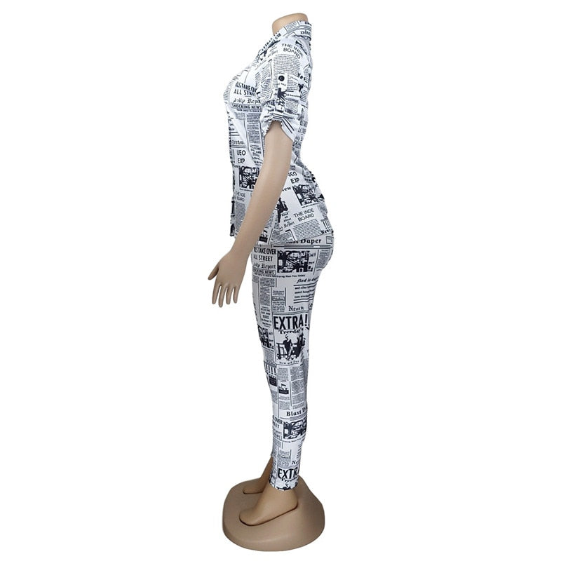 Plus Size Newspaper Print Zip Up Half Sleeve Jumpsuit