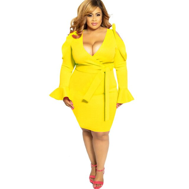 Plus Size Solid Bodycon V-neck Cold Shoulder Party Dress