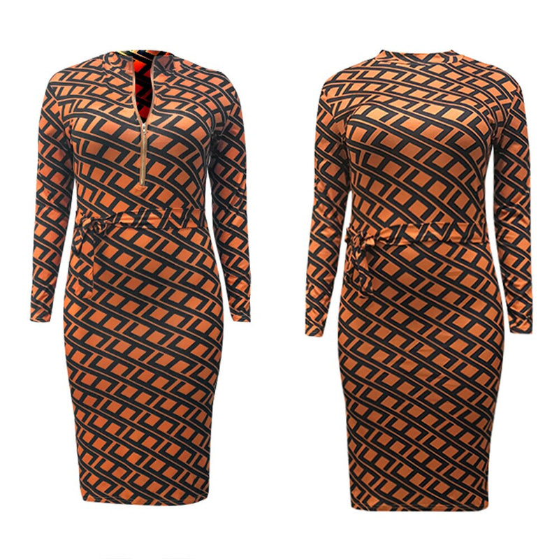 Plus Size Zip Up Long Sleeve Deep V Neck Stretchy Bodycon Dress