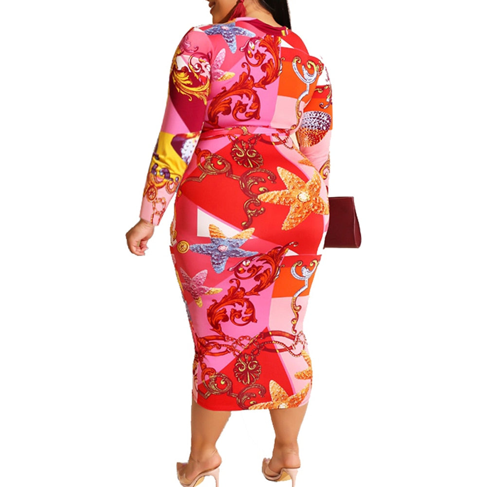 Plus Size Colorful Print Long Sleeve Zip Up Bodycon Dress