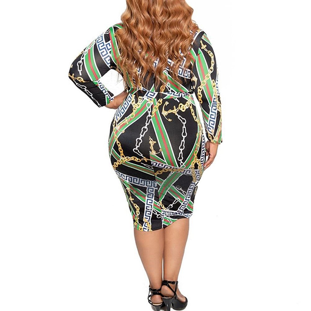 Plus Size Chain Print Long Sleeve Zip Up Bodycon Black Dress