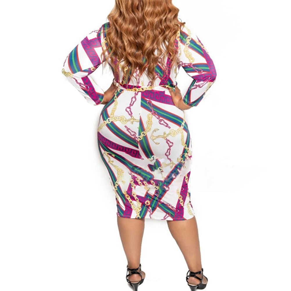 Plus Size Chain Print Long Sleeve Zip Up Bodycon White Dress