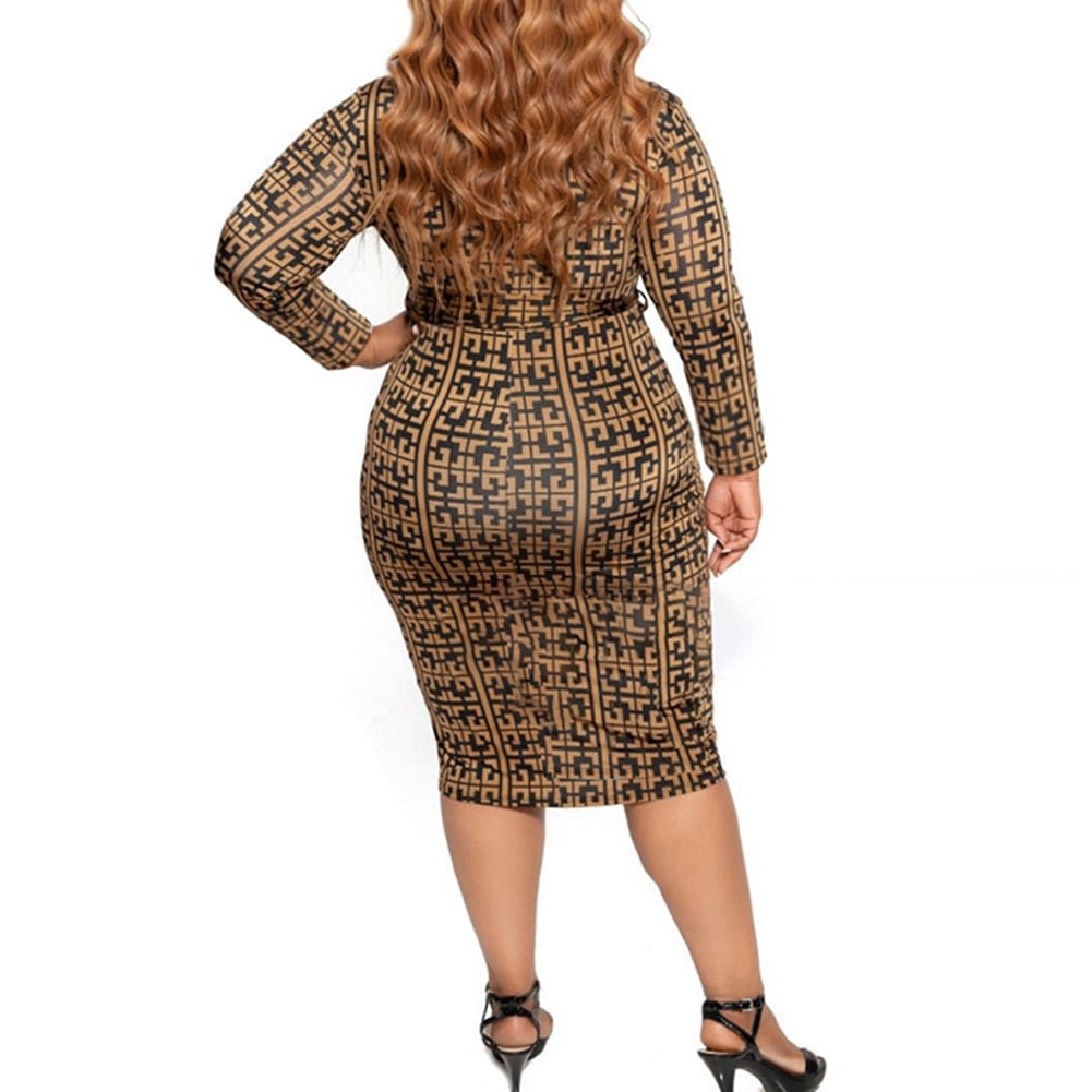 Plus Size Designer Pattern Long Sleeve Zip Up Bodycon Tan Dress