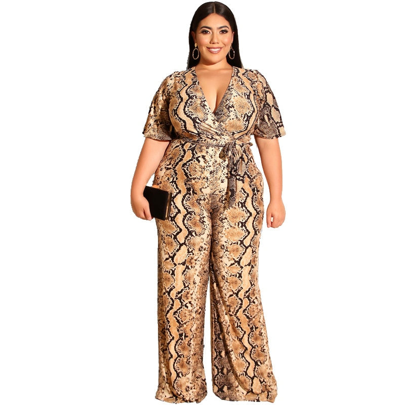 Plus Size Snake Skin Deep V Neck Jumpsuit