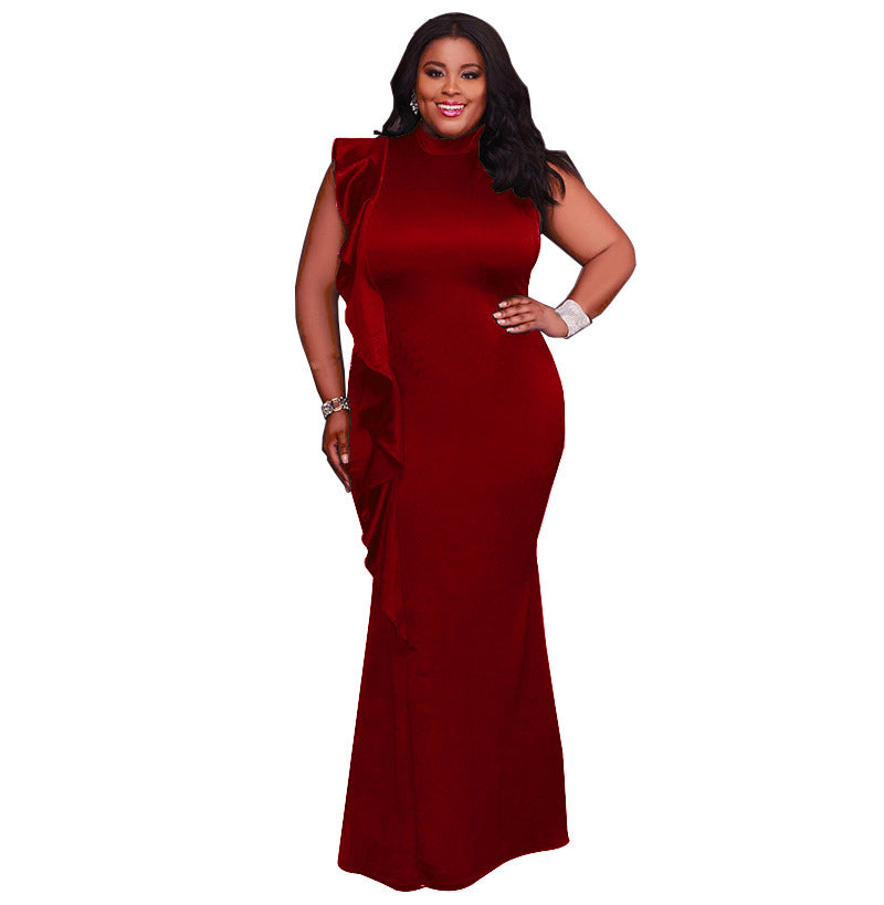 Plus Size Glam High Neck Sleeveless Ruffle Bodycon Maxi Party Dress