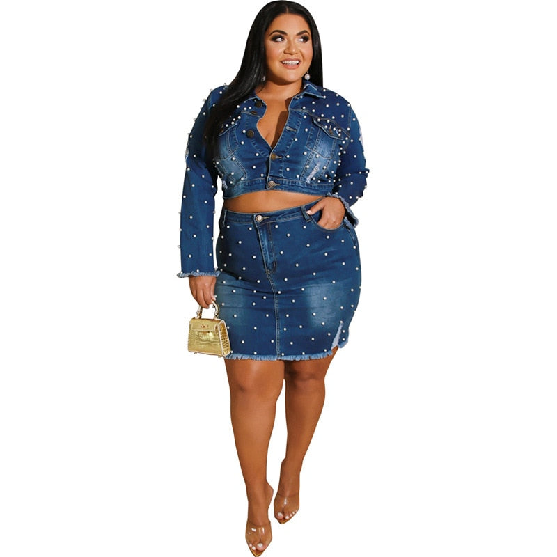 Plus Size Pearl Denim Long Sleeve Set Top and Skirt Set