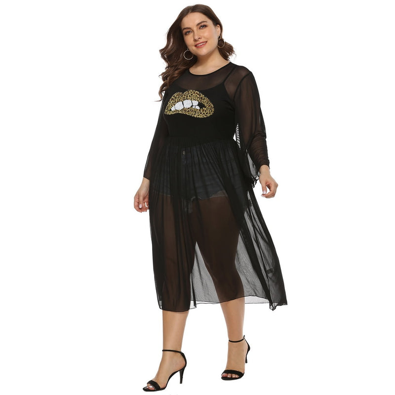 Plus Size Kiss Me Sequin Long Sleeve Cover Up Tunic Dress