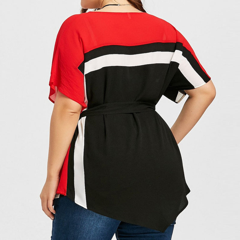 Plus Size Colorblock Batwing Sleeve Patchwork Belted Top