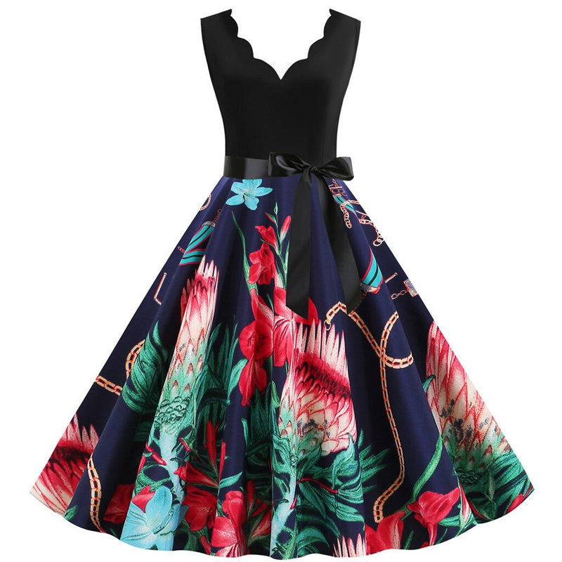 Plus Size Navy Floral Scallop Neckline Bow Flare Dress