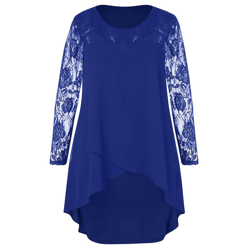 Plus Size Casual Sheer Lace Sleeve High Low Hem Dress