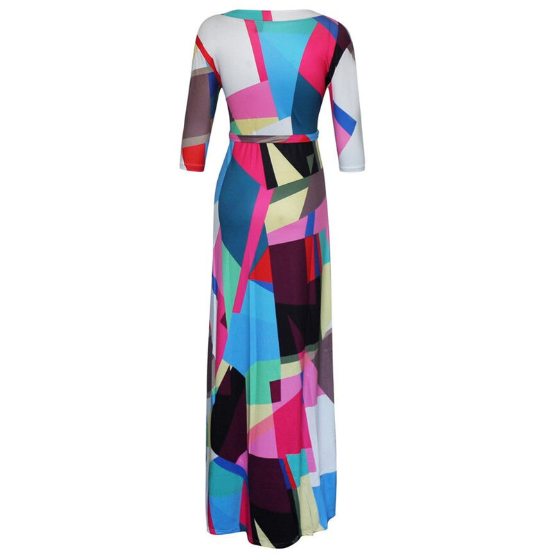 Plus Size Colorful Geo Print Three Quarter Sleeve Maxi Dress