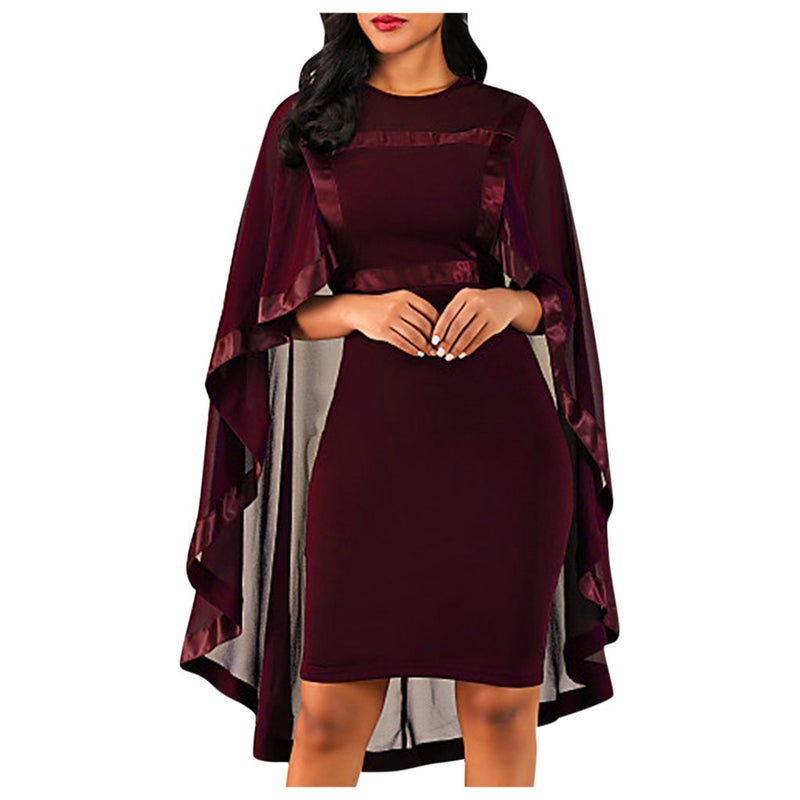 Plus Size Formal See Through Cape Bodycon Dress