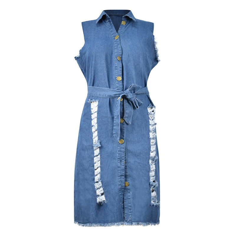 Plus Size Deep V Neck Denim Jean Button Sleeveless Dress