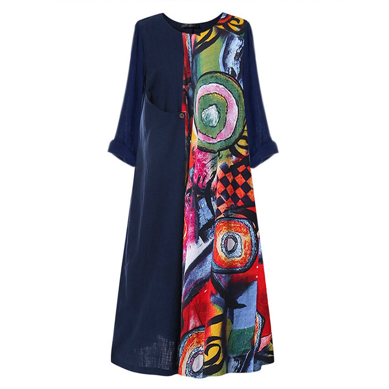 Plus Size Colorful O-Neck Print Patchwok Long Sleeve Maxi Dress