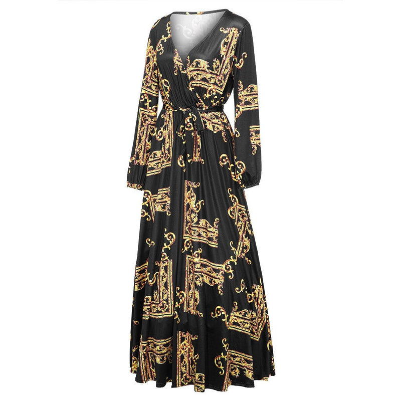 Plus Size V Neck Long Sleeve Lantern Sleeve Wrap Dress