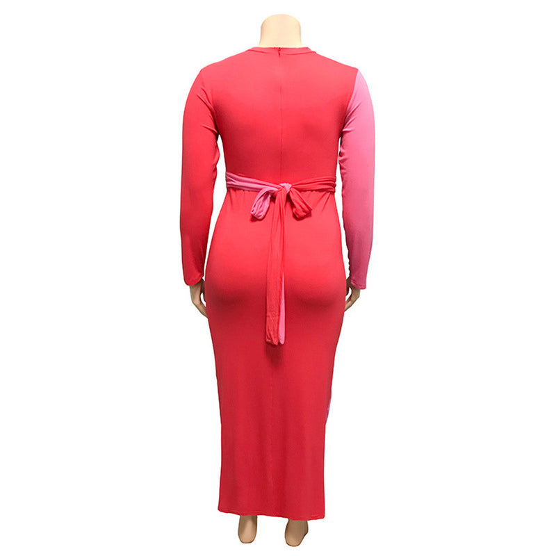 Plus Size Colorblock Belted Long Sleeve Bodycon Dress