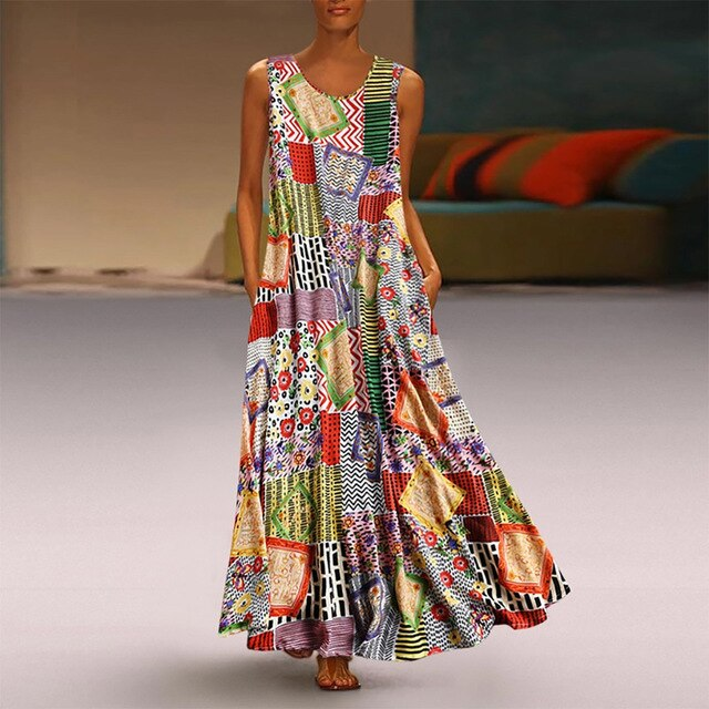 Plus Size Sleeveless O-Neck Floral Colorful Patchwork Loose Maxi Dress