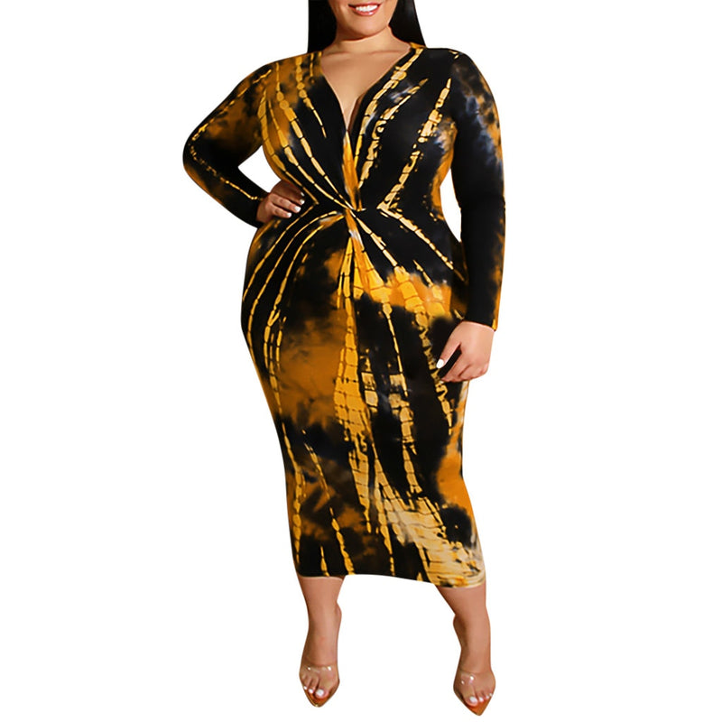 Plus Size Abstract Print V-neck Long Sleeve Maxi Dress