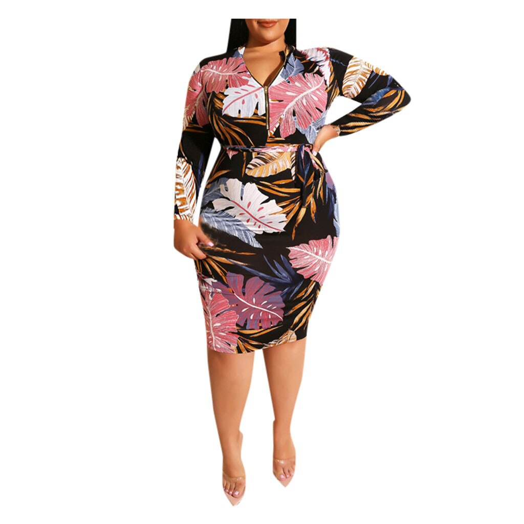 Floral Print Long Sleeve Sexy Deep V Neck Bodycon Dress