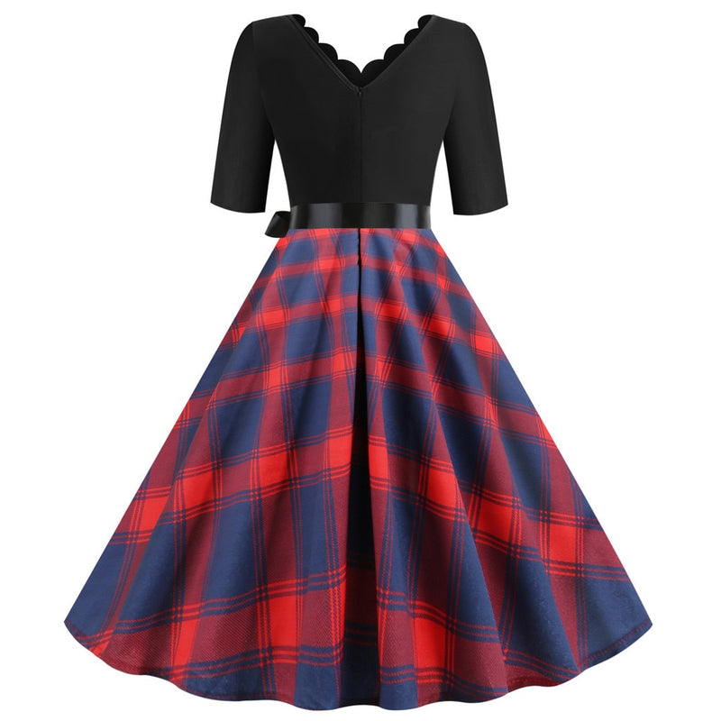 Plus Size Plaid Scallop Neckline Short Sleeve Flare Dress