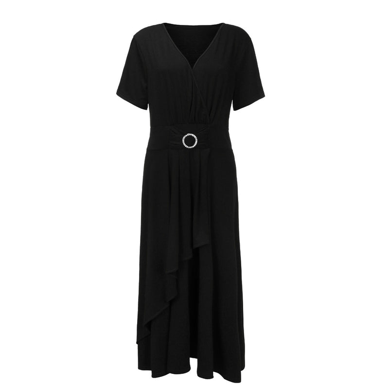 Plus Size Solid Short Sleeve V-Neck Layered Dress