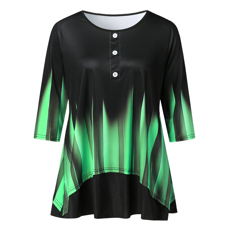 Plus Size Abstract Vibrant Loose Long Sleeve Top