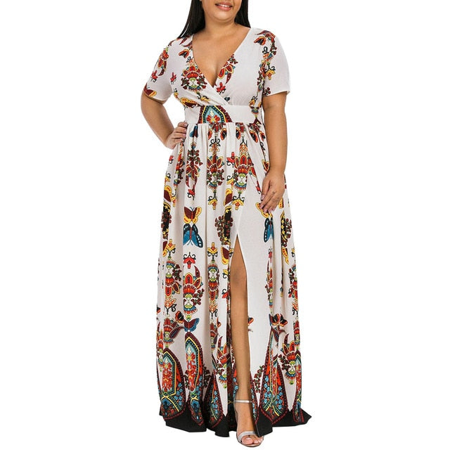 Plus Size Butterfly V-neck Short Sleeve White Maxi Dress