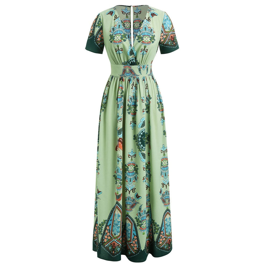 Plus Size Butterfly V-neck Short Sleeve Green Maxi Dress