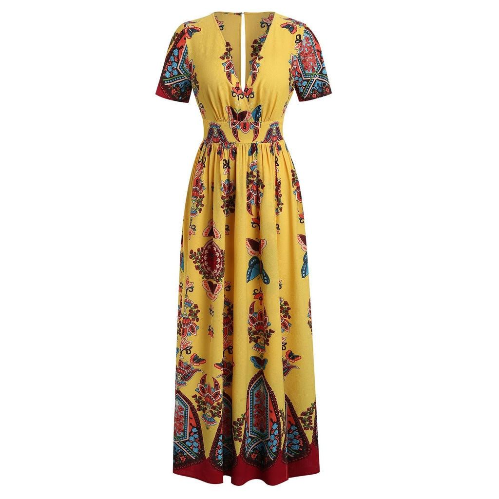 Plus Size Butterfly V-neck Short Sleeve Yellow Maxi Dress