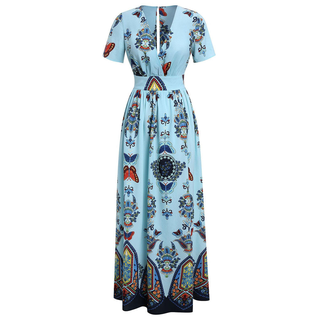 Plus Size Butterfly V-neck Short Sleeve Blue Maxi Dress