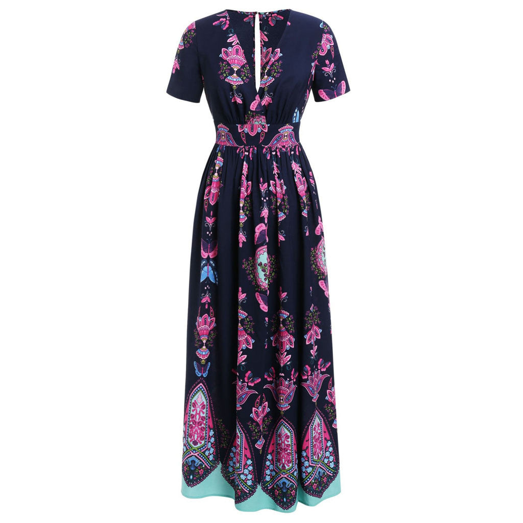 Plus Size Butterfly V-neck Short Sleeve Navy Maxi Dress
