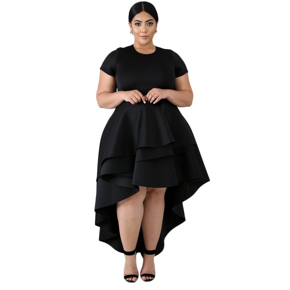 Plus Size Solid Cap Sleeve High Low Ruffle Dress Dress