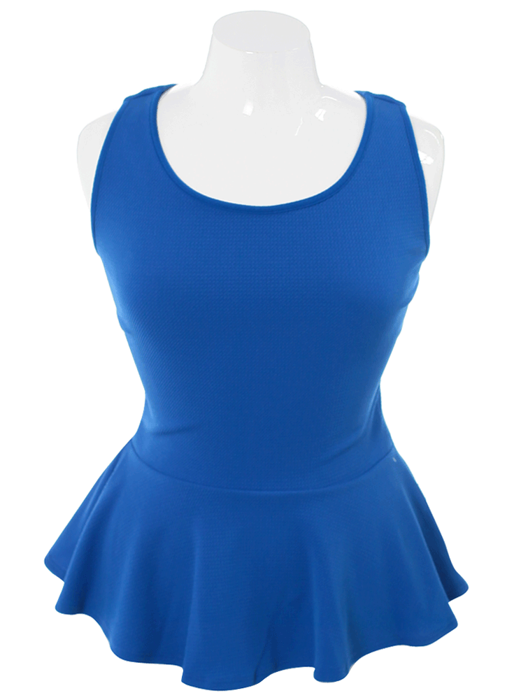 Plus Size Textured Back Bow Peplum Blue Top