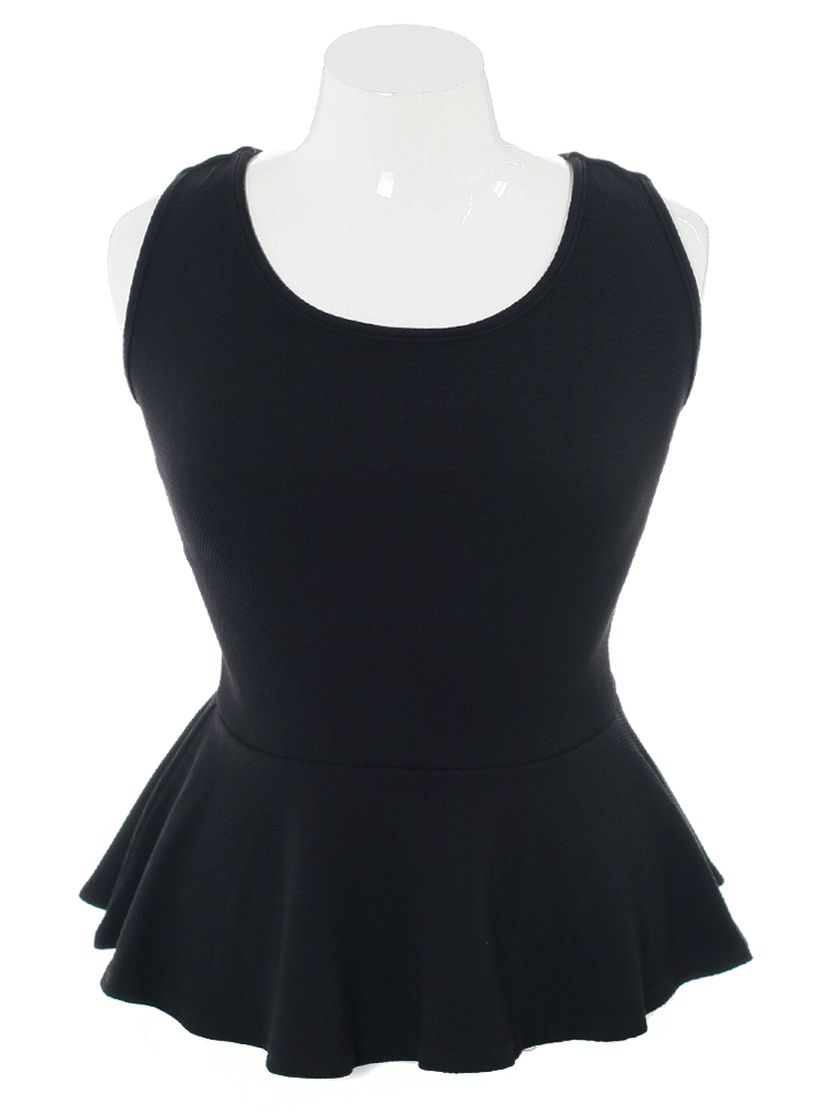 Plus Size Textured Back Bow Peplum Black Top