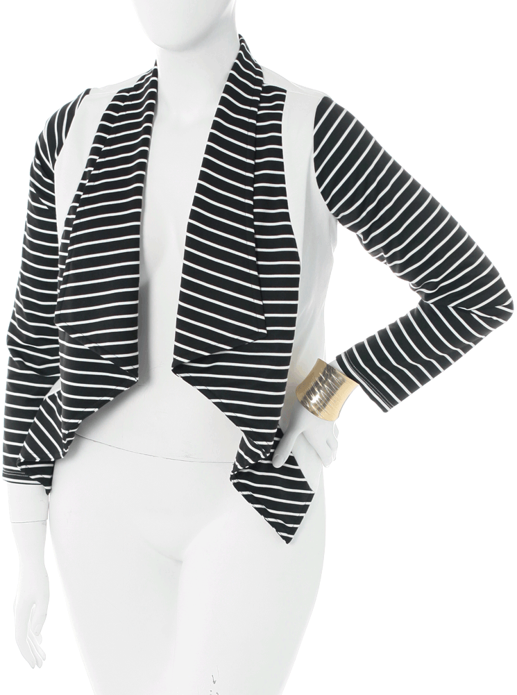 Plus Size Mod City Girl Striped Draped Blazer