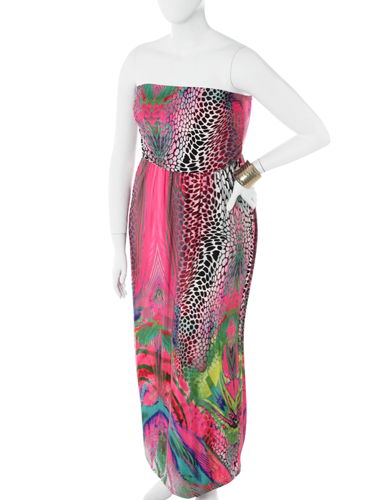 Plus Size Stunning Wild Print Pink Maxi Dress